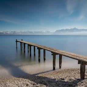 Léman lake  pontoon by Romain Bruot - Landscapes Waterscapes ( pose longue, pontoon, lake, long exposure, ponton, lac )