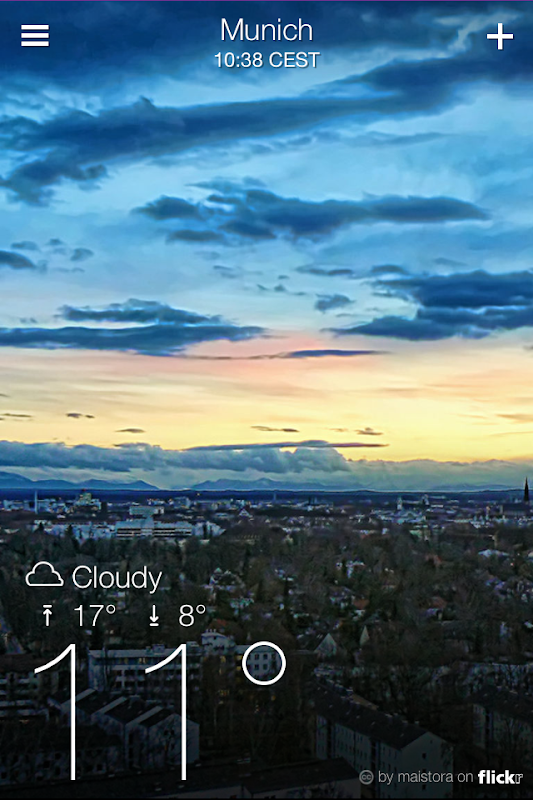 Yahoo! Weather forecast at a glance