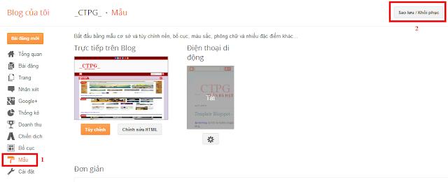 Hướng dẫn thay đổi template cho blogspot