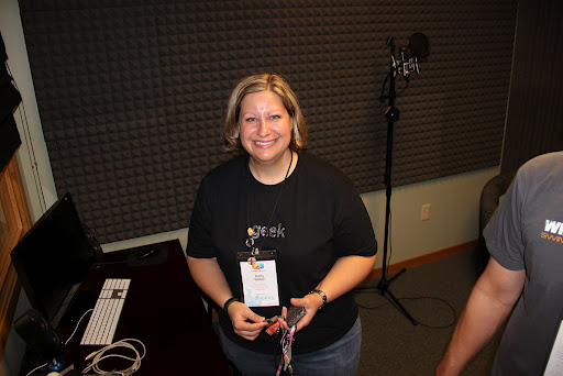 Betsy Weber - Techsmith's Chief Evangelist in their recording studio (love her tshirt!)