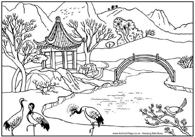 Paisagem Chinesa Desenho Para Colorir Colorir E Aprender