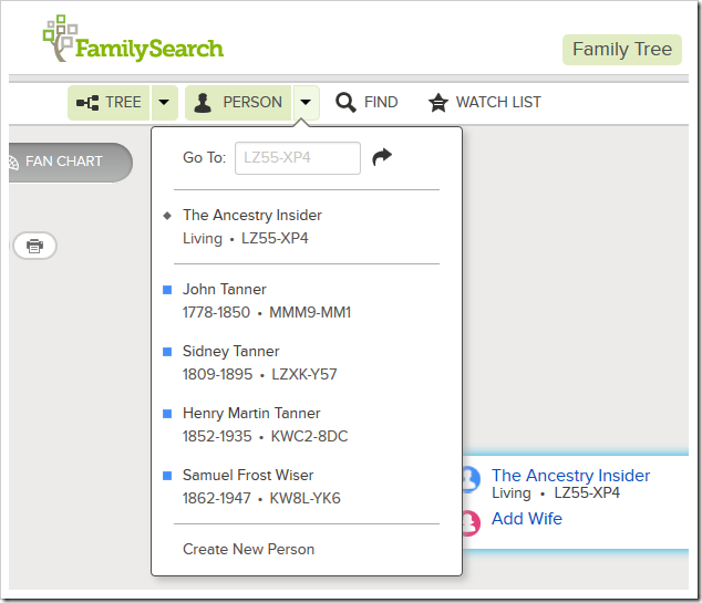 Familysearch系列树人下拉历史列表