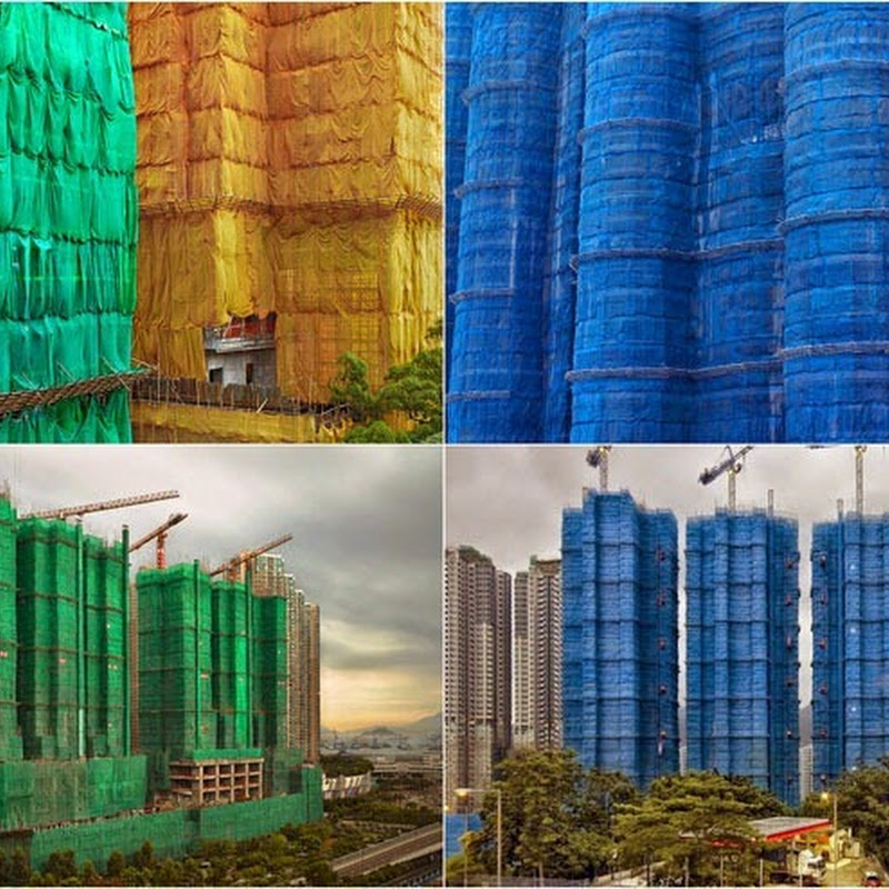 Buildings Under Construction Wrapped in Colorful Fabric