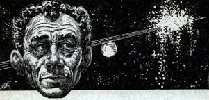 One of the illustrations by Freas accompanying the short story Penal Servitude by Randall Garrett in Astounding Science Fiction, British edition, June 1958. Image shows the tyrant living in his mind the genocide he committed in the past.