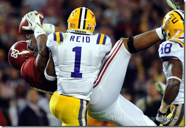 Williams reception Bama LSU clearly possesses ball begins fall