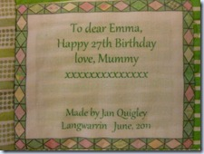 Emma's quilt label
