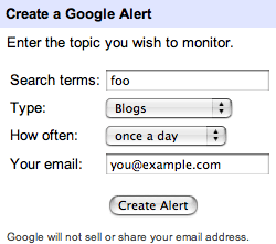 Google alerts configuration