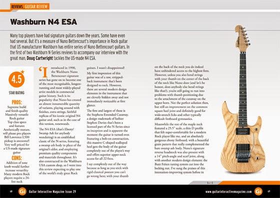 Nuno Bettencourt & Washburn Guitars in Guitar Interactive magazine