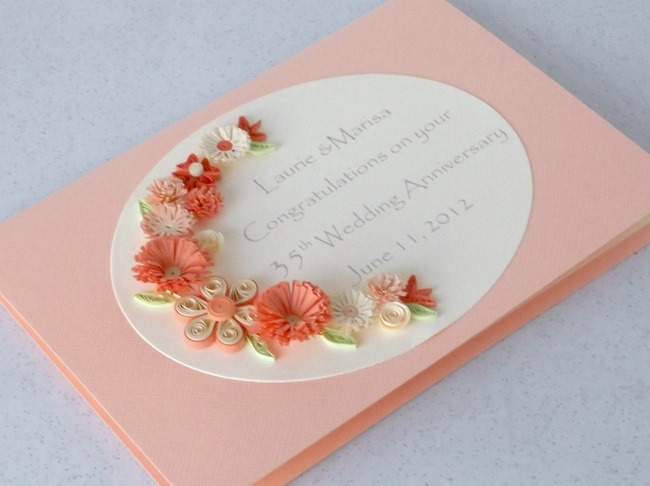 Quilling coral anniversary card