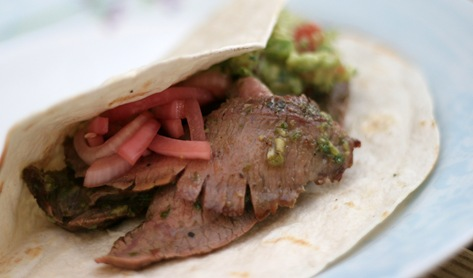 Christine's Cuisine: Steak tacos w/ sweet & spicy pickled onions