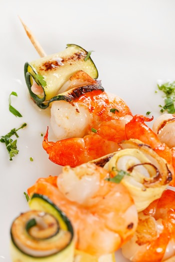 Prawn Skewers with vegetables