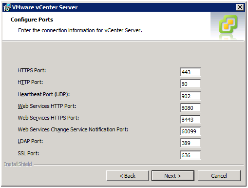 VMware vCenter Server Installer - Configure Ports