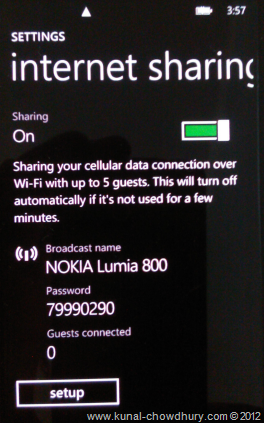 Internet Sharing screen from Windows Phone 7