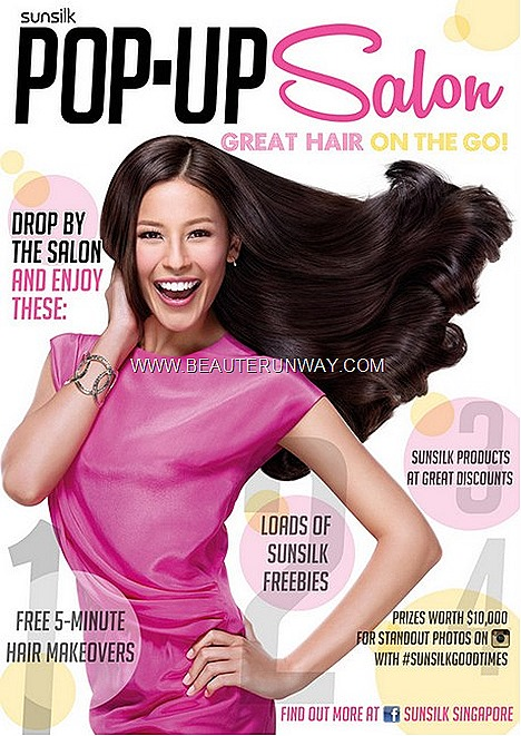 Sunsilk Pop up Salon Hair Styling Service showcases the extensive Sunsilk hair care range and styling products bi phrase spray, leave in serum, treatments mask, shampoo conditioner luscious silky SunSilk Smooth Manageable Nourishing