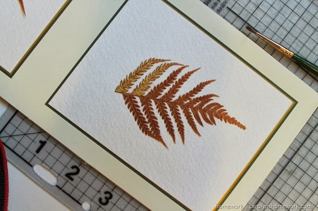 Gold Painted Pressed Ferns via homework | carolynshomework.com