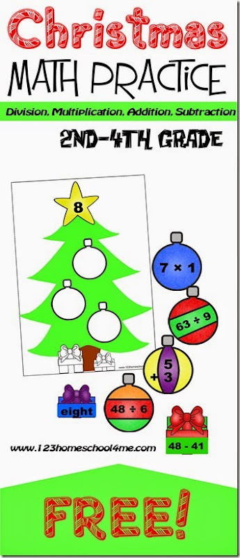 FREE Decorate the Math Christmas Trees - super clever and FUN Christmas Math Practice for 3rd grade, 4th grade, 5th grade and 6th grade. Kids will review at home or in a math center division, multiplication, addition, and subtraction.