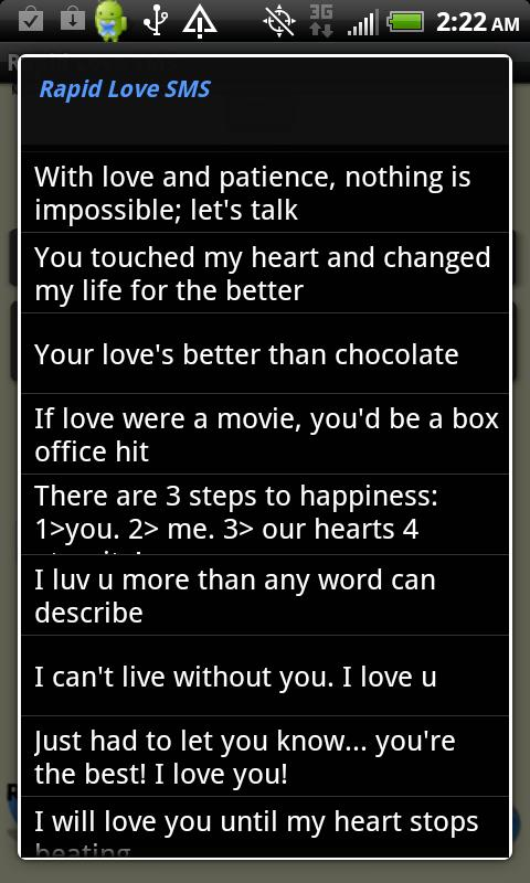 Rapid Love SMS - LITE - screenshot