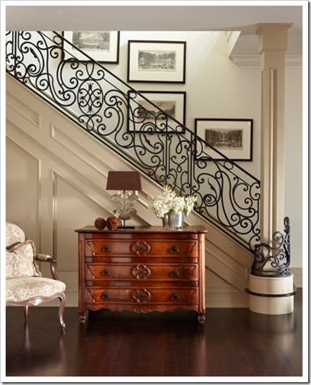 Iron scroll staircase