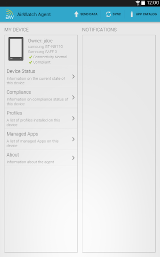 AirWatch Agent Screenshot