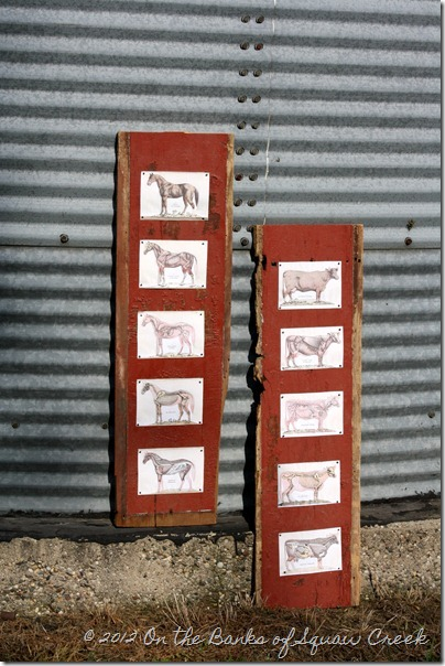 reclaimed barn board and antique farm animals