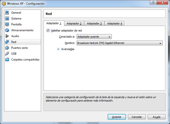 Adaptador puente VirtualBox