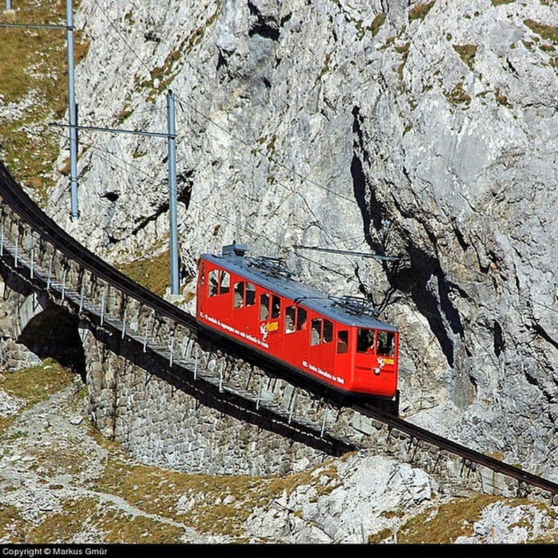 The World's Steepest Cogwheel Railway at Mount Pilatus