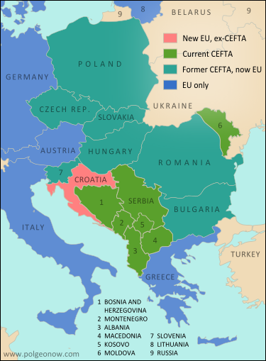 Croatia Joins EU, leaves CEFTA - Political Geography Now