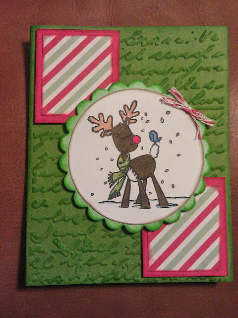 Christmas greeting card with stamping of deer