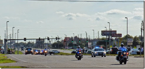Officer Charles Kondek funeral procession along highway 19, Tarpon Springs Holiday area