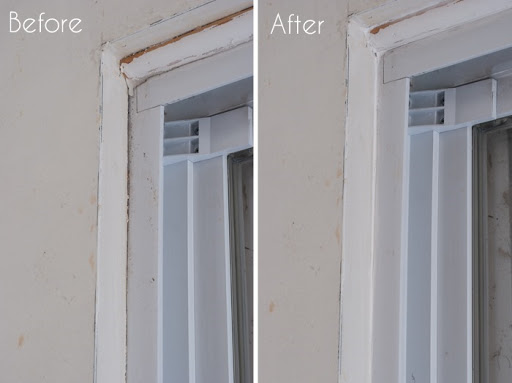 Sliding Glass Door Before and After Caulking & Mind The Gap: Weatherproofing Doors \u0026 Windows - The Gathered Home
