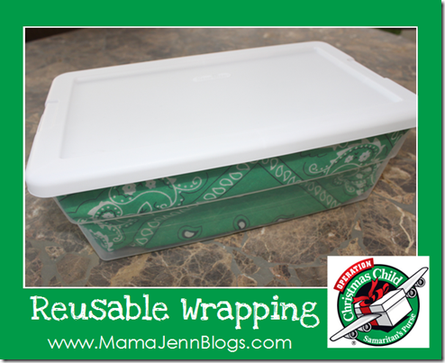 "Operation Christmas Child: ""Wrapping"" a Plastic Shoe Box with a Bandana"