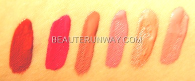 Stila lip swatches Fiery Caprice Patina Petal Coral  Muse