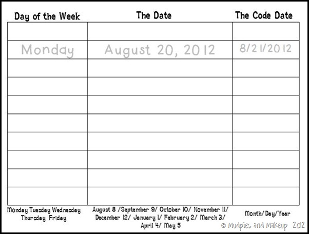 Calendar Practice Worksheet2