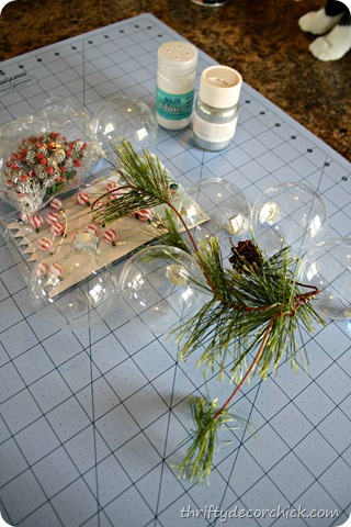 DIY snowy ornaments