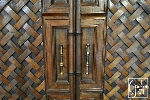 carved teak bar front closeup 2
