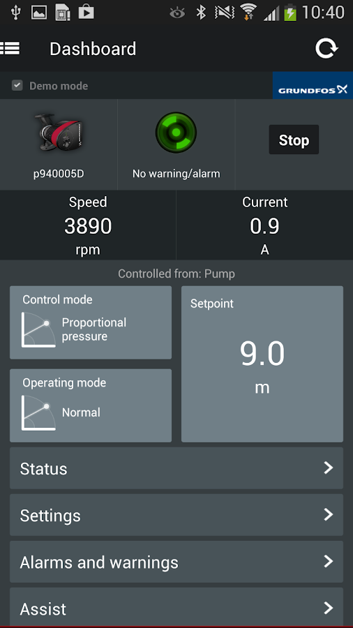 Grundfos GO Remote- screenshot