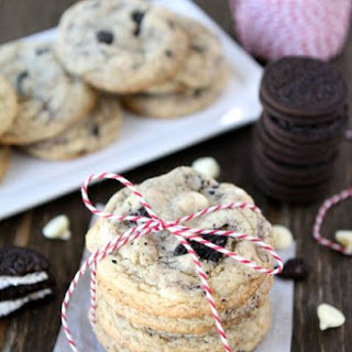 Soft white chocolate pudding cookies with Oreos and white chocolate chips-a new favorite cookie at our house!.