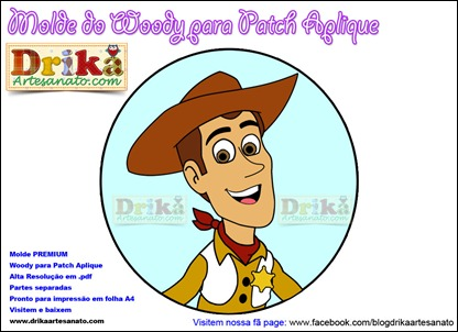 Molde do Woody para Patch Aplique Drika Artesanato