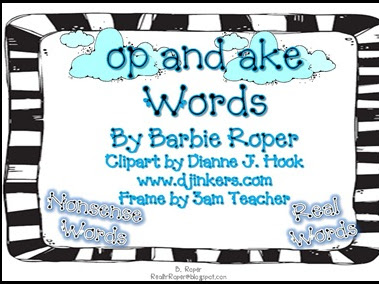Op and Ake Word Family Freebie