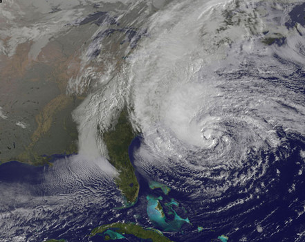 Satellite photo of Hurricane Sandy - Credits NOAA - Hurricane Sandy manipulated by government weather technology meterologist says