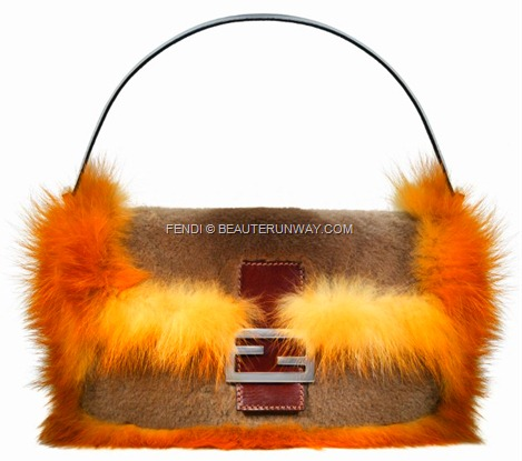 FENDI FUR BAGUETTE BAG  iconic designs fur trim double F silver and brown leather clasp calf skin, pony hair, sequins, beads, colours BOOK