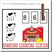 Click to download Barnyard Counting Clip-on FREE PRINTABLE from Living Life Intentionally
