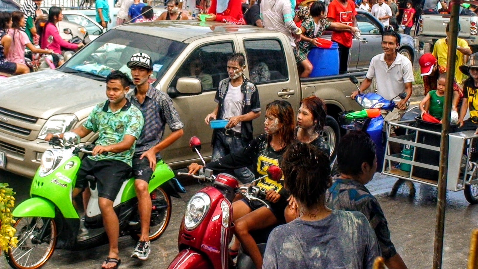 Songkran, Ban Chang, Thailand, farang