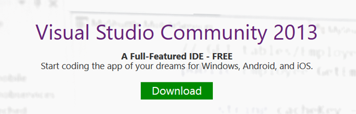 Download Visual Studio Community 2013