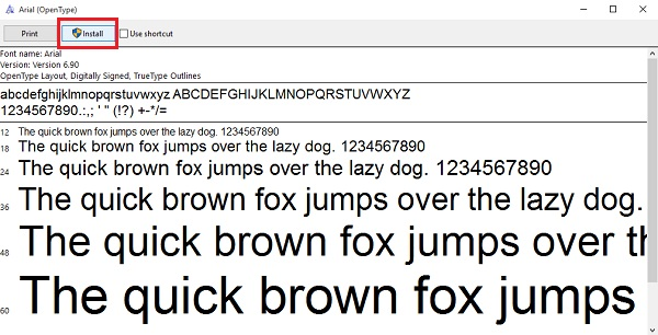 Install font Arial