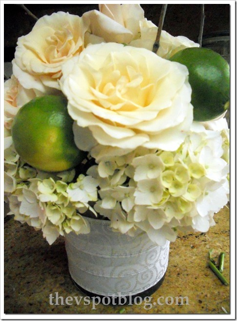 rose and lime centerpiece