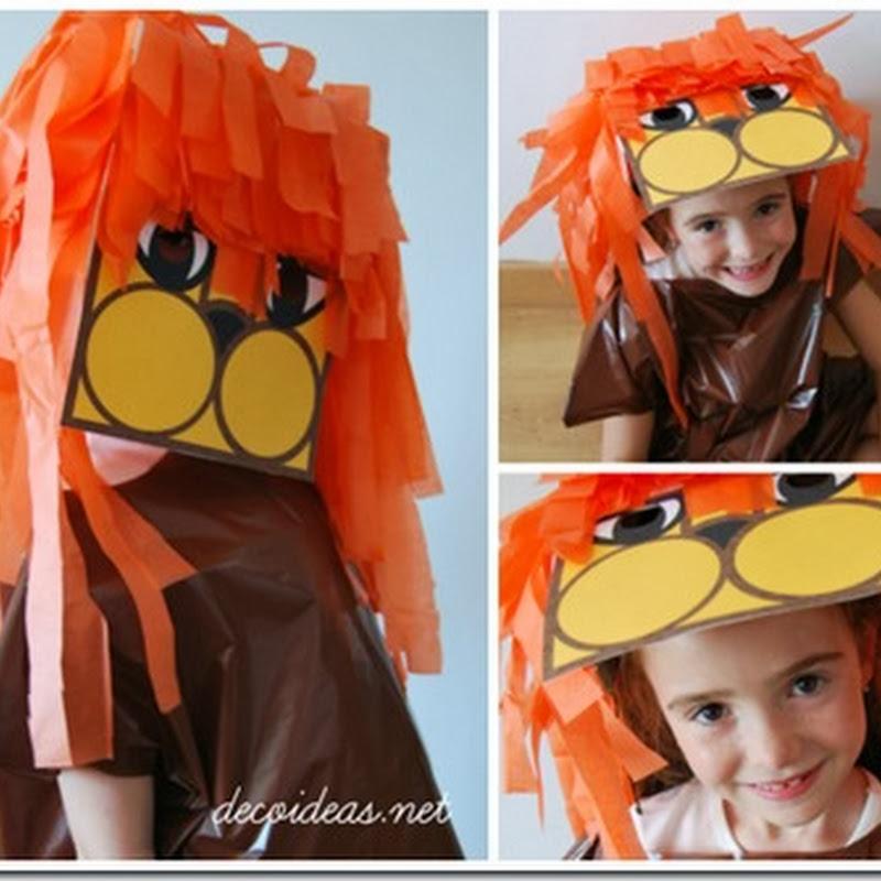 manualidades máscara de león con melena de papel