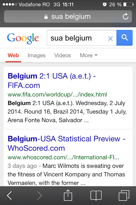 Google FIFA World Cup One Box SUA vs Belgium on mobile