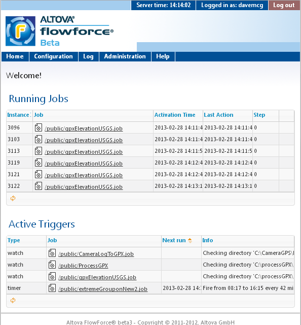 FlowForce Server viewed in a Web browser window