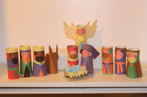 Presépios criativos - presépio de rolinhos de papelão